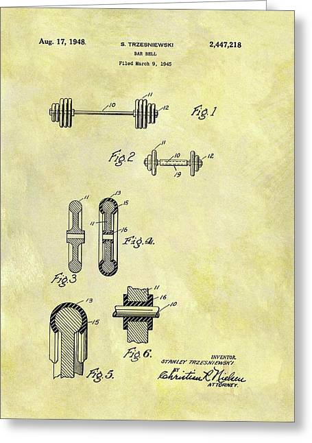 1948 Dumbbell Patent Greeting Card by Dan Sproul