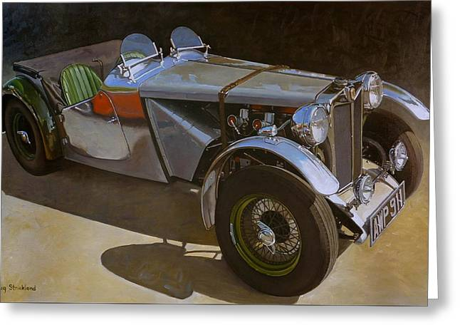 1948 M G  Racer Greeting Card by Doug Strickland