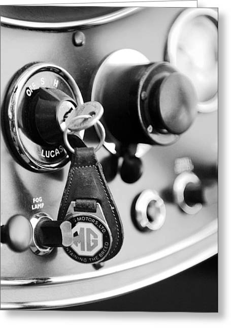 1948 Mg Tc Key Ring Black And White Greeting Card by Jill Reger