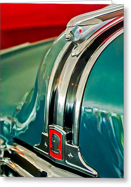 1948 Pontiac Streamliner Woody Wagon Hood Ornament Greeting Card by Jill Reger