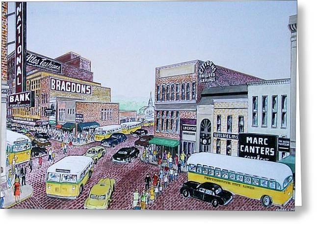 1948 Rush Hour Portsmouth Ohio Greeting Card by Frank Hunter