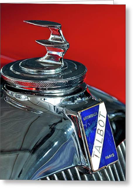 Hoodies Greeting Cards - 1948 Talbot-Lago T26 Record Cabriolet Hood Ornament Greeting Card by Jill Reger