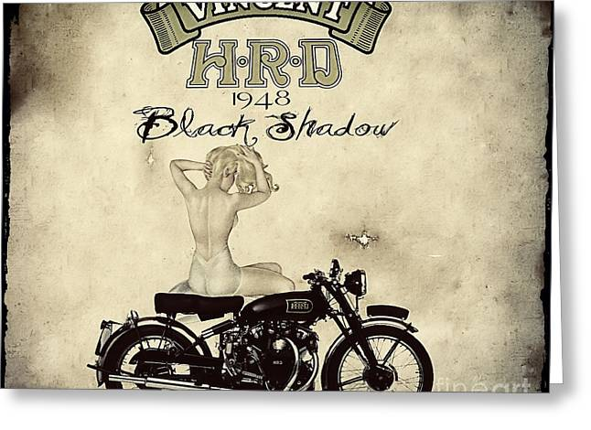 1948 Vincent Black Shadow Greeting Card by Cinema Photography