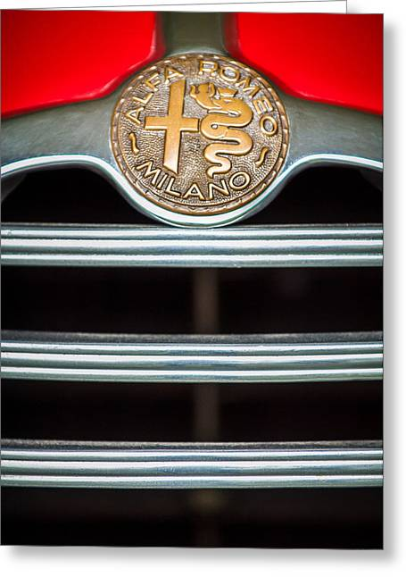 1949 Alfa-romeo 6c 2500 Ss Pininfarina Cabriolet Emblem Greeting Card by Jill Reger