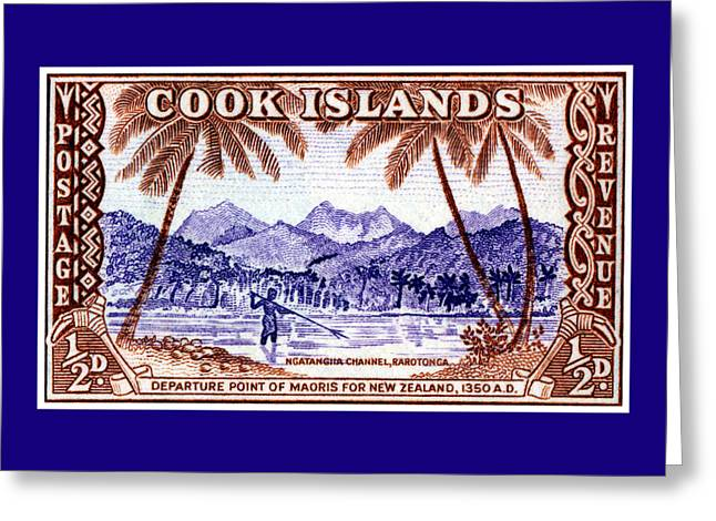 Greeting Card featuring the painting 1949 Native Fishing, Cook Islands by Historic Image