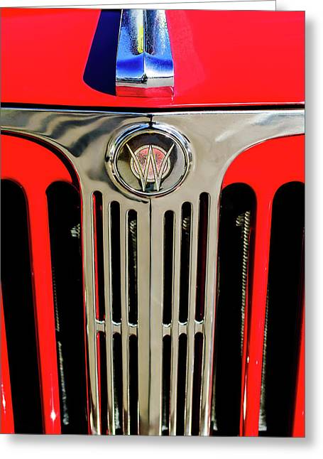 1949 Willys Jeepster Hood Ornament And Grille Greeting Card by Jill Reger