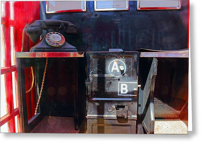 1950 British Telephone Box Greeting Card by Jeff Townsend