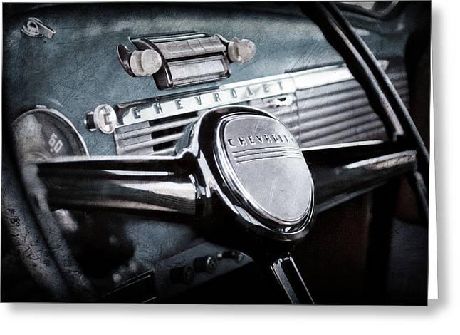 1950 Chevrolet 3100 Pickup Truck Steering Wheel -0142ac Greeting Card by Jill Reger