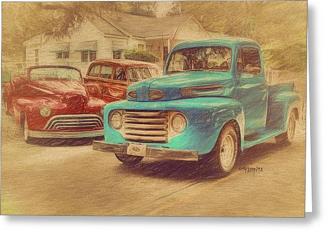 1950 Ford Truck Classic Cars - Homecoming Greeting Card by Rebecca Korpita
