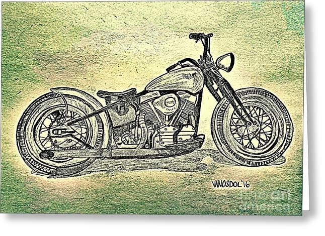 1950 Harley Davidson Panhead Motorcycle - Abstract Greeting Card by Scott D Van Osdol