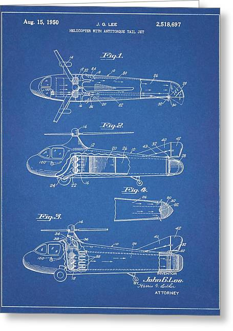 1950 Helicopter Patent Blueprint Greeting Card by Dan Sproul