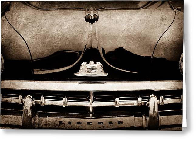 1950 Lincoln Cosmopolitan Henney Limousine Grille Emblem - Hood Ornament -0464s Greeting Card by Jill Reger