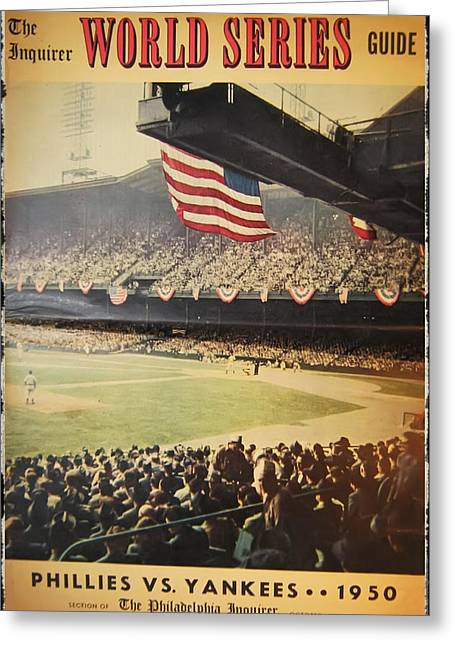 Yankees World Greeting Cards - 1950 Phillies vs Yankees World Series Guide Greeting Card by Bill Cannon