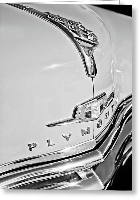 1950 Plymouth Coupe Hood Ornament - Emblem -0116bw Greeting Card