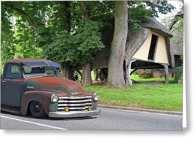 1950 Rusty Chevy Truck Outside Old Barn Greeting Card