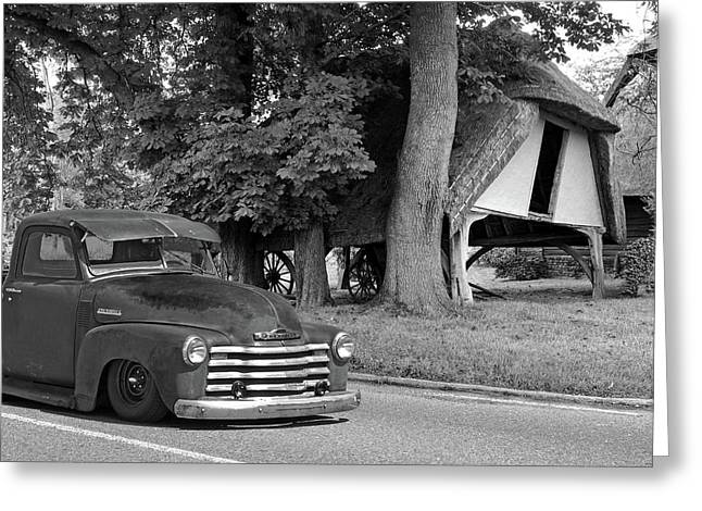 1950 Rusty Chevy Truck Outside Old Barn In Black And White Greeting Card