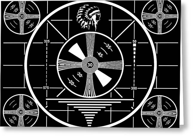 1950 Television Test Pattern Greeting Card by Dan Sproul