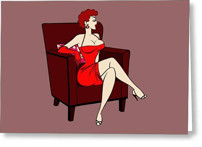 1950s Cartoon Pinup Girl Greeting Card