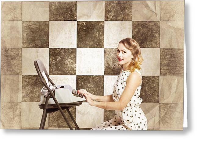 1950s Fictional Pinup Writer Greeting Card by Jorgo Photography - Wall Art Gallery