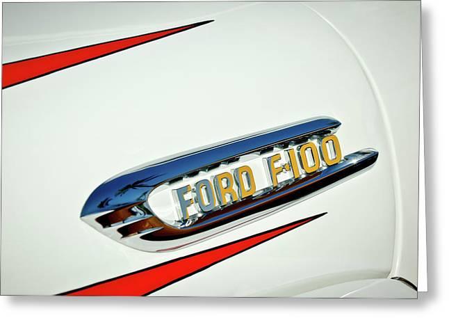 1950's Ford F-100 Fordomatic Pickup Truck Emblem Greeting Card by Jill Reger