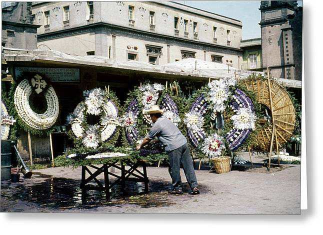 1950s Mexico City Funeral Wreaths Greeting Card