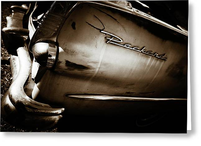Greeting Card featuring the photograph 1950s Packard Tail by Marilyn Hunt