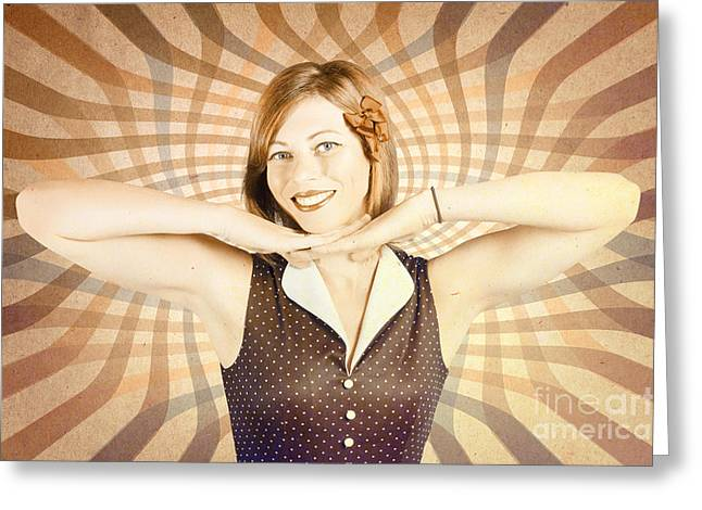 1950s Pop Art Woman In Vintage Style Greeting Card by Jorgo Photography - Wall Art Gallery
