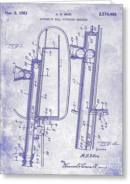 1951 Baseball Pitching Machine Patent Blueprint  Greeting Card