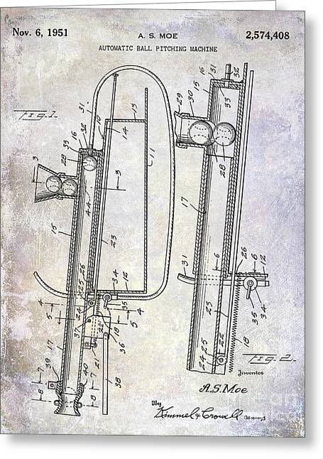 1951 Baseball Pitching Machine Patent Greeting Card