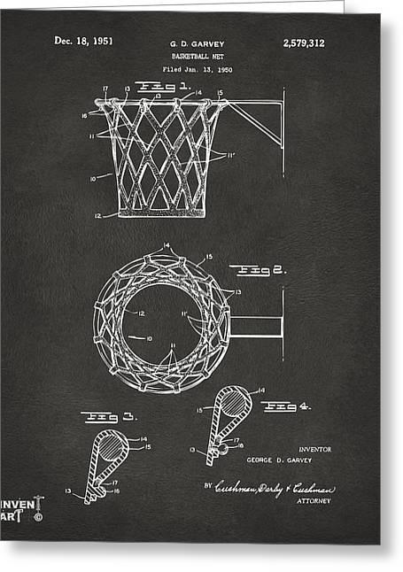 1951 Basketball Net Patent Artwork - Gray Greeting Card