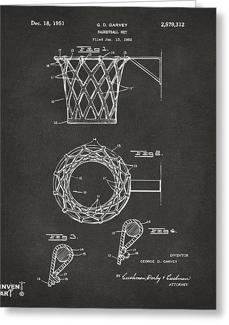 Sports Drawings Greeting Cards - 1951 Basketball Net Patent Artwork - Gray Greeting Card by Nikki Marie Smith