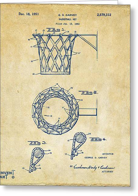 Basket Ball Game Greeting Cards - 1951 Basketball Net Patent Artwork - Vintage Greeting Card by Nikki Marie Smith