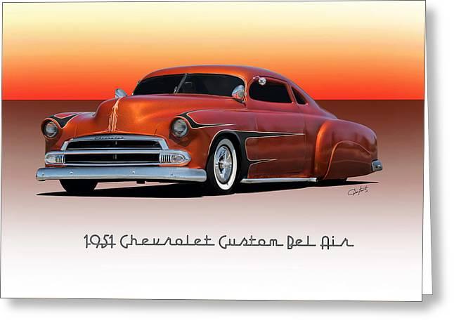 Slam Greeting Cards - 1951 Chevrolet Bel Air Custom Greeting Card by Dave Koontz
