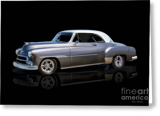 1951 Chevrolet Deluxe Hardtop On Black Greeting Card by Dave Koontz