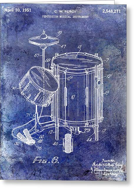 1951 Drum Kit Patent Blue Greeting Card by Jon Neidert