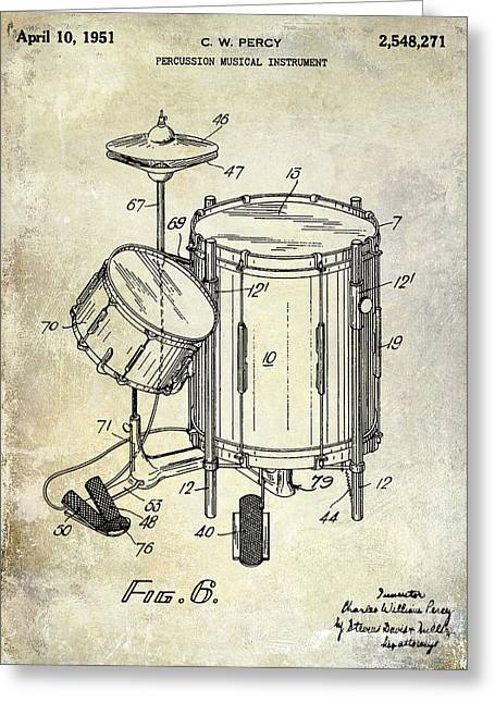 1951 Drum Kit Patent  Greeting Card