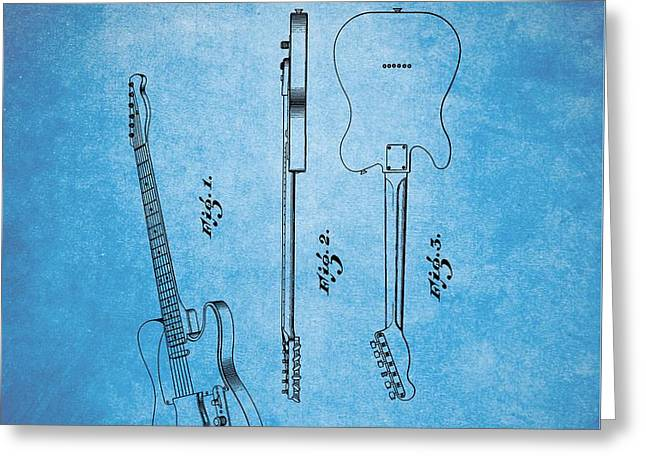 1951 Fender Guitar Patent Blue Greeting Card