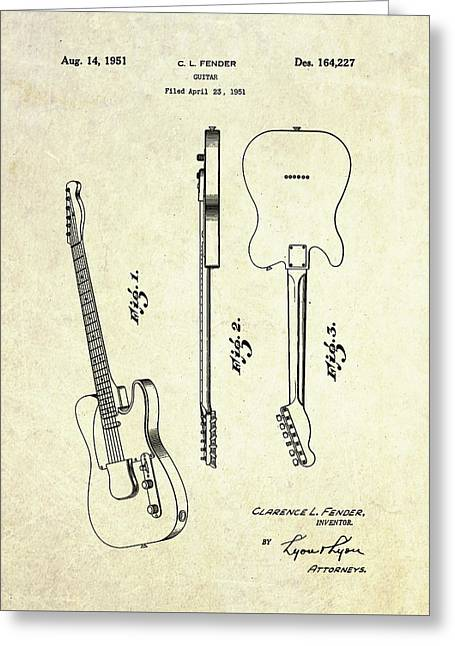 1951 Fender Telecaster Patent Art Greeting Card by Gary Bodnar