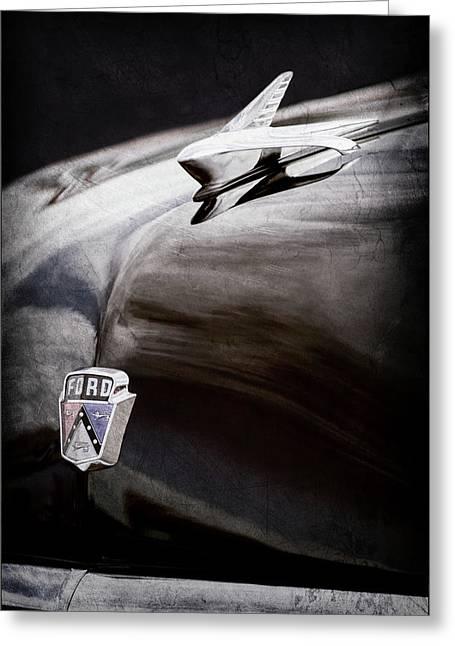 1951 Ford Custom Tudor Sedan Hood Ornament - Emblem -0312ac Greeting Card