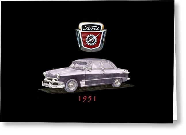 1951 Ford Two Door Sedan Tee Shirt Art Greeting Card by Jack Pumphrey