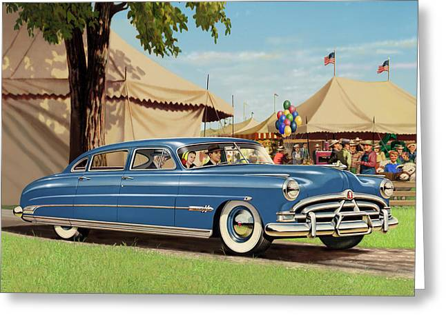 1951 Hudson Hornet - Square Format - Antique Car Auto - Nostalgic Rural Country Scene Painting Greeting Card by Walt Curlee