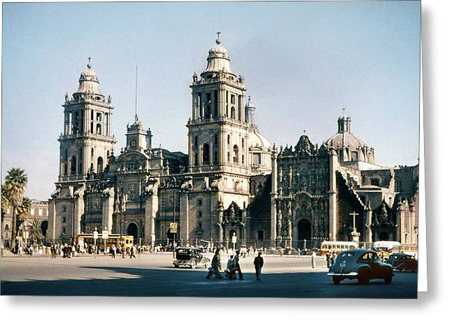 1951 Metropolitan Cathedral Mexico City Greeting Card