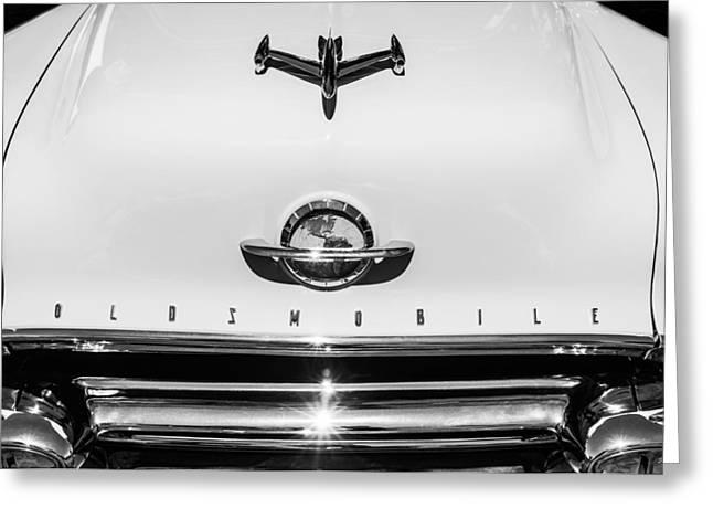 1951 Oldsmobile 98 Hood Ornament - Emblem -0125bw Greeting Card