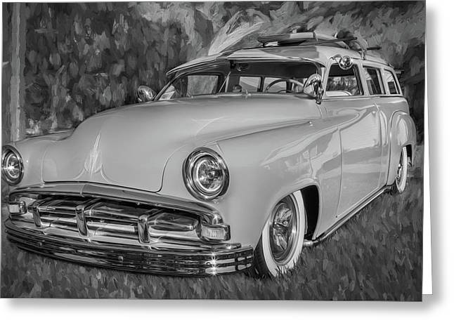 1951 Plymouth Suburban 2 Door Station Wagon Bw 002 Greeting Card by Rich Franco