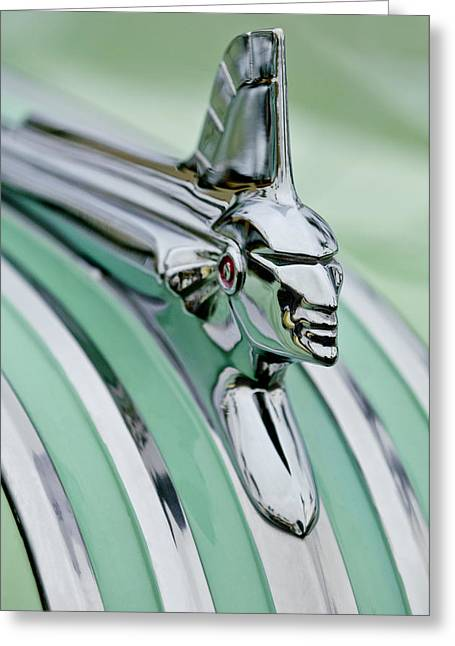 1951 Photographs Greeting Cards - 1951 Pontiac Streamliner Hood Ornament 3 Greeting Card by Jill Reger