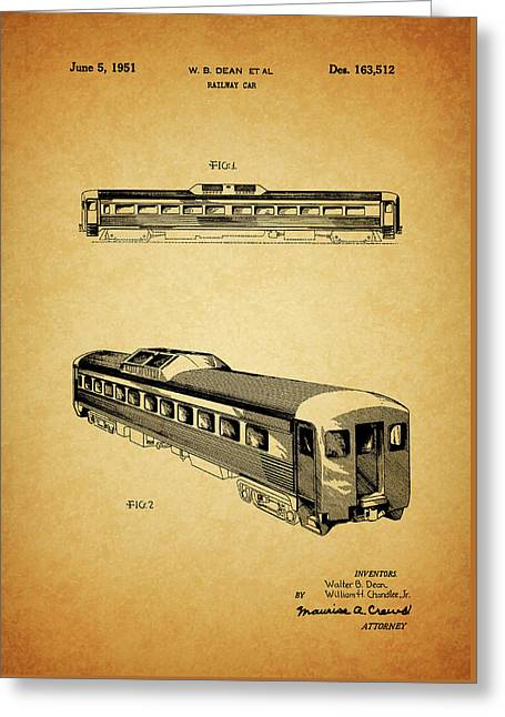 1951 Railway Car Patent Greeting Card by Dan Sproul