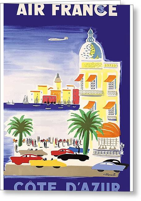 1952 Air France Cote De Azur Travel Poster Greeting Card