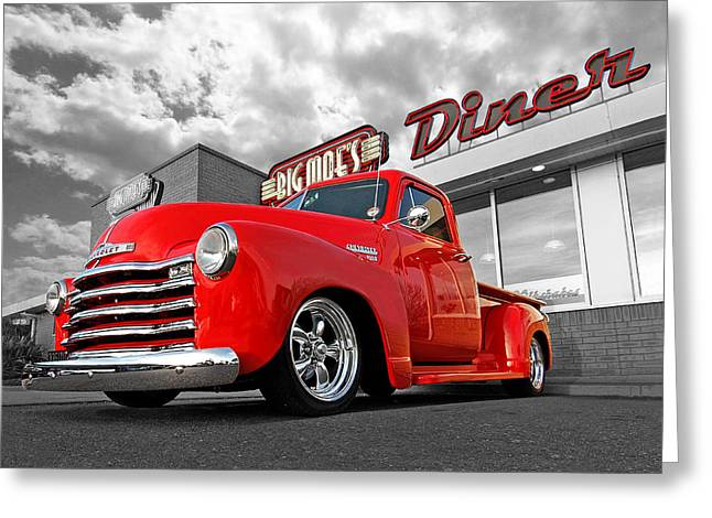 1952 Chevrolet Truck At The Diner Greeting Card