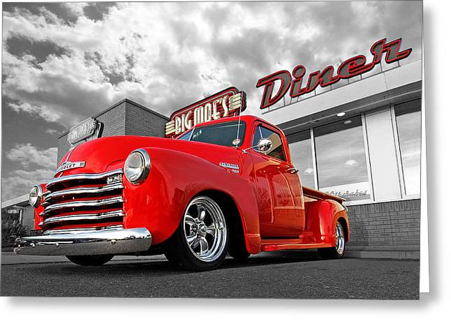 Chevy Pickup Truck Greeting Cards - 1952 Chevrolet Truck at the Diner Greeting Card by Gill Billington