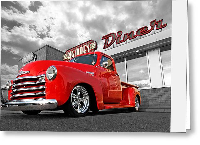Chevy Pickup Greeting Cards - 1952 Chevrolet Truck at the Diner Greeting Card by Gill Billington